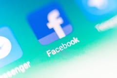 Macrofoto van facebookteken en onderzoeksbar op Mobiele Telefoon Royalty-vrije Stock Foto
