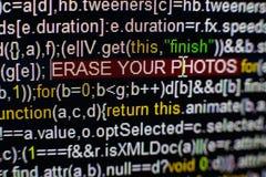 Macrofoto van het computerscherm met programma broncode en benadrukte SPYWARE-inschrijving in het midden Manuscript op Royalty-vrije Stock Afbeelding