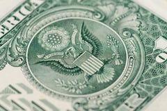 Macrofragmentbankbiljet één Amerikaanse dollar stock afbeeldingen