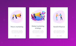 Macromarketing app interface template. Marketing specialist with loudspeaker influence businessmen and globe. Macromarketing, social influence, global marketing royalty free illustration