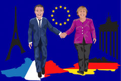 Macron/Merkel and the eurozone reform. German Chancellor Angela Merkel supports French President Emmanuel Macron's proposals for reforming the European Union Royalty Free Stock Photo