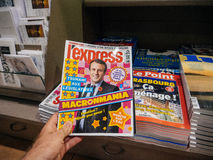 Macronmania Emmanuel Macron pressreaktioner till fransk legislativ Royaltyfria Bilder