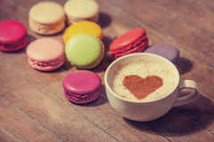 Macrons with cup Stock Photography