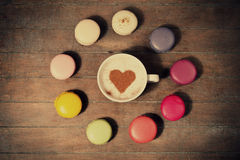 Macrons with cup Stock Image