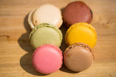 Free Macrons Lie Consecutively On Wooden Background Stock Image - 75366931