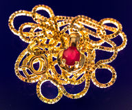 Macrophoto of a lovely golden necklace with a ruby stone in polarized light Royalty Free Stock Images
