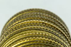 Macrophoto of a stack of coins. royalty free stock photo