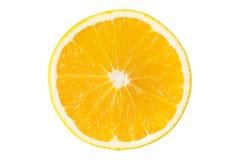 Macroplak van verse sinaasappel die op wit wordt geïsoleerd Gespaard met clippi royalty-vrije stock fotografie