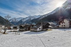 Alpine village in winter, Macugnaga, north Italy stock photos