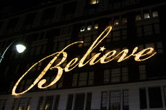 Macy`s Believe Banner. Famous Macy`s believe banner that appears at the main store at Herald Square every Holiday season Royalty Free Stock Images