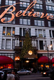 Macy's Believe Holiday sign. The word Believe decorates the side of the Macy's store on their Manhattan Store, NYC Royalty Free Stock Images
