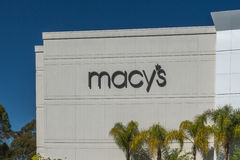 Macy's Department Store Exterior and Logo. MISSION VIEJO, CA/USA - APRIL 2, 2016: Macy's department store exterior and logo. Macy's is a department store chain royalty free stock photos