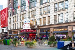 Macy`s Department Store at Herald Square in Manhattan with holiday window displays royalty free stock images