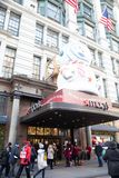 Macy`s Department Store at Herald Square in Manhattan with holiday window displays royalty free stock photography