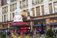 Macy`s Department Store at Herald Square in Manhattan with holiday window displays stock photography