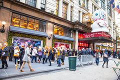 Macy`s Department Store at Herald Square in Manhattan with holiday window displays stock image
