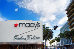 Macy`s department store. Miami, United States - February 12, 2016: People and cars move alongside the Macy`s department store in Miami Downtown Stock Image