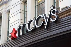 Macy`s department store sign in Herald Square, New York. NEW YORK - SEPTEMBER 10: Macy`s department store sign in Herald Square flagship location in Midtown Royalty Free Stock Photos