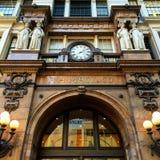 Macys Harold Square. Looking up at Macys Harold Square in NYC main historic and iconic entrance Stock Image