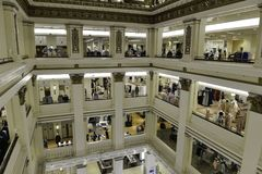 Macy`s shoppping mall, indoor floors. Chicago, Il, USA - march 14, 2016:  Interior view of the shopping mall Macy`s in Chicago, Illinois Stock Photography