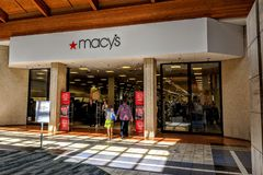 Macy`s Store Mall Entrance. Joliet, Illinois, USA - April 8, 2018: Macy`s location in the Louis Joliet Mall in the Chicago suburbs Stock Photography