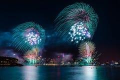 Macy 4th av Juli fyrverkerier Royaltyfria Bilder