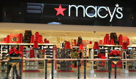Macys Store. In shopping mall during Christmas holiday season. Macy is the largest retailer chain store in US Royalty Free Stock Images