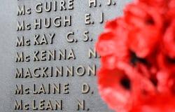 Maczek ściana spisuje imiona wszystkie australijczycy które umierali w usługa wojska Zdjęcia Stock