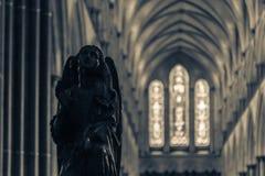 Maczek głowy ławki końcówka A w Salisbury katedrze fotografia royalty free