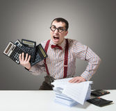 Mad accountant. Humorous portrait of an angry accountant royalty free stock photos