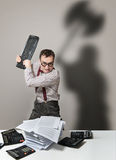 Mad accountant Royalty Free Stock Photo