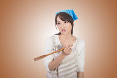 Mad Asian housewife Royalty Free Stock Photo