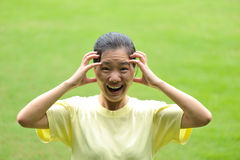 Mad asian woman Stock Photo