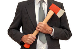 Mad axe businessman - isolated Royalty Free Stock Photo
