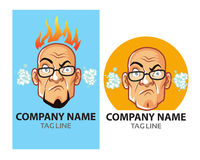 Mad Bald Guy Logo Stock Image