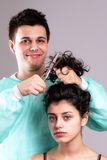 The mad barber Stock Photos