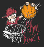 Mad basketball slam dunk t-shirt print design vector illustration. Royalty Free Stock Images