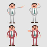 Mad boss businessman cartoon vector set Royalty Free Stock Images