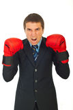 Mad business man shouting. Mad business man with boxing gloves shouting against white background Royalty Free Stock Photo