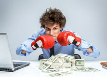 Mad businessman hold key position Royalty Free Stock Photos