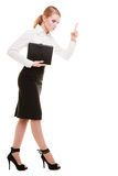 Mad businesswoman teacher shaking finger isolated. Full length of mad businesswoman boss. Furious teacher woman shaking an admonitory finger isolated. Studio stock photo