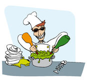 Mad chef graphic. Mad chef cooking with dirty dishes and fish bones. Graphic illustration Royalty Free Stock Images
