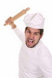 Mad chef with rolling pin Stock Images
