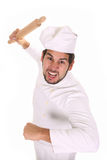 Mad Chef With Rolling Pin Stock Photo