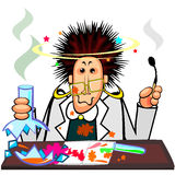 Mad chemist. Woman chemist with broken flask and cool hairstyle after explosion vector illustration