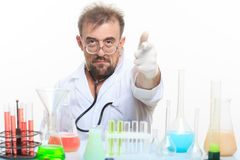 Mad chemist in the lab doing reaction Royalty Free Stock Images