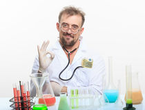 Mad chemist in the lab doing reaction Royalty Free Stock Photography