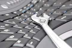 Mad about computer problem Stock Photo