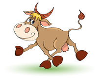 Mad cow. Cartoon mad cow. Isolated on white. Illustration stock illustration