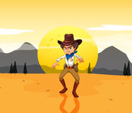 A mad cowboy at the desert Royalty Free Stock Photos